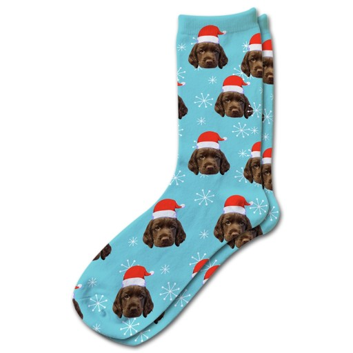 Personalised Pet Socks Santa Hat Photo Socks