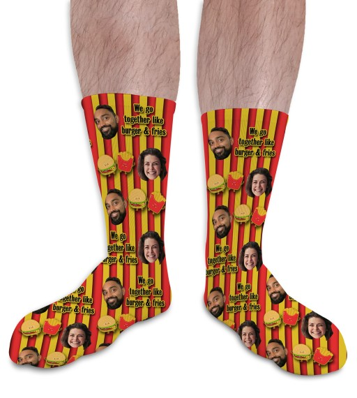We Go Together Like Burger & Fries Valentines Day Personalised Socks