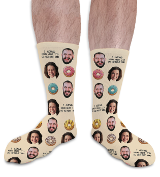 Donut What I'd Do Without You Valentines Day Personalised Socks