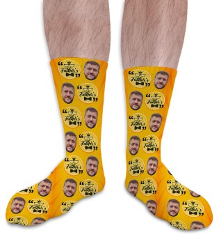 Happy Fathers Day Personalised Photo Socks