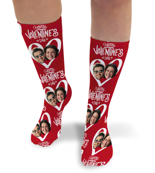Valentines Day Personalised Socks Happy Valentines Day