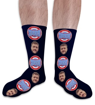 Super Dad 3 Fathers Day Personalised Photo Socks