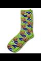 Personalised Pet Photo Socks Cat Lime Green