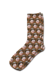Coloured Background Personalised Photo Socks Brown