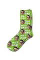 Photo & Message Personalised Photo Socks Lime Green