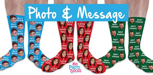 Photo & Message Personalised Socks