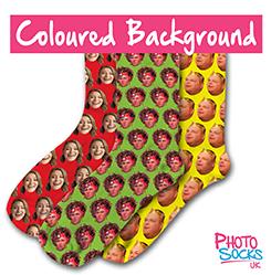 Personalised Socks Coloured Background